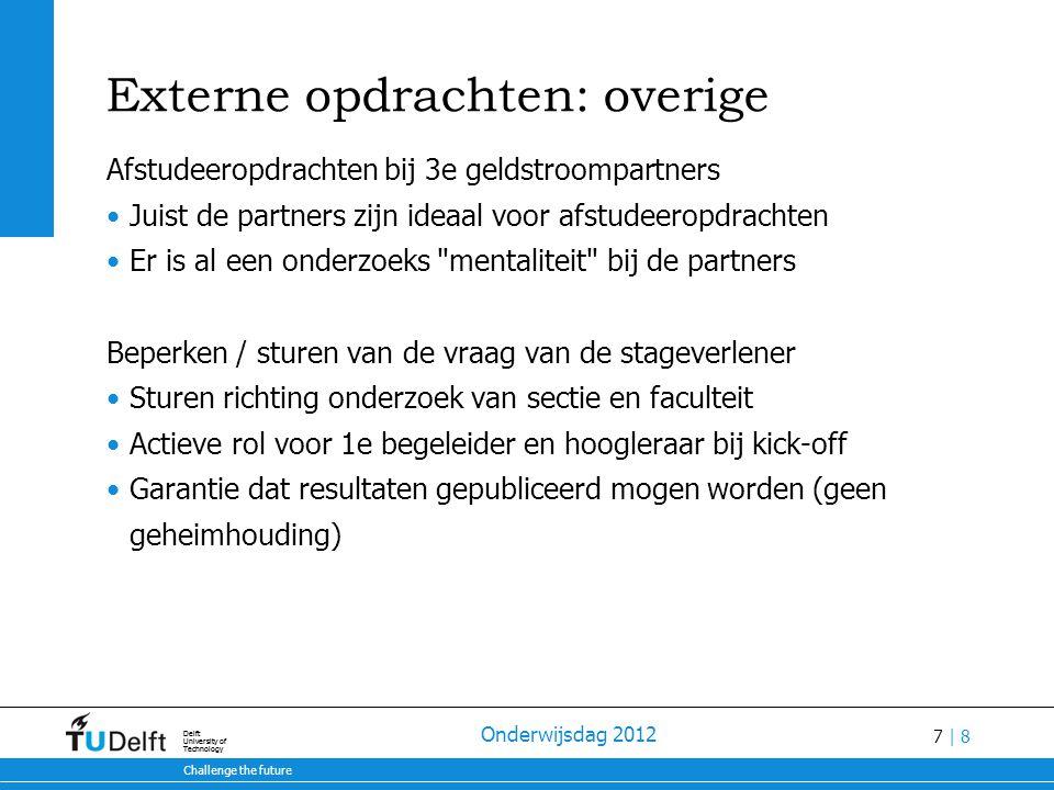 7 | 8 28-7-2014 Challenge the future Delft University of Technology 28-7-2014 Challenge the future Delft University of Technology Onderwijsdag 2012 Ex