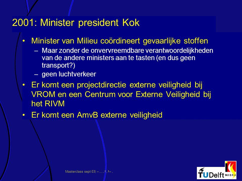 2001: Minister president Kok Minister van Milieu coördineert gevaarlijke stoffen –Maar zonder de onvervreemdbare verantwoordelijkheden van de andere m