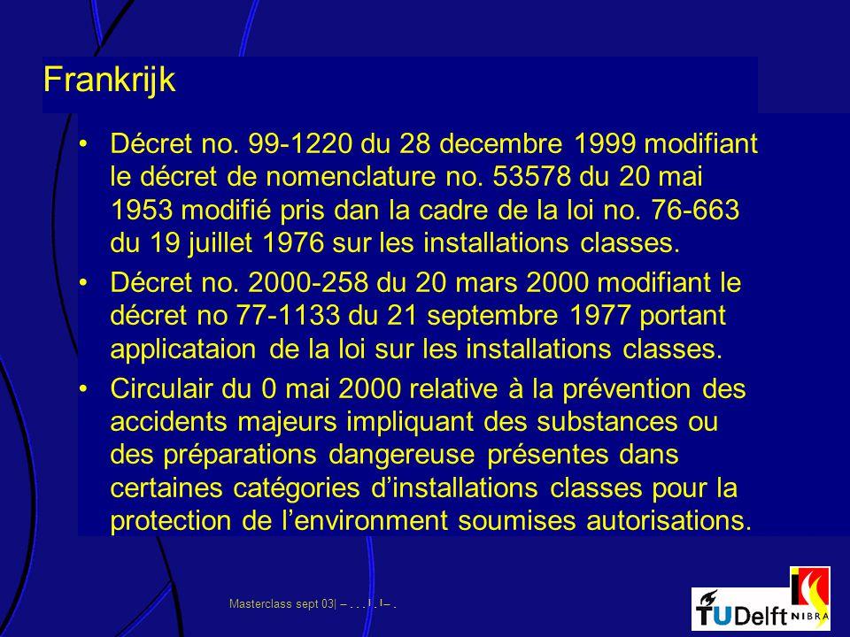 Masterclass sept 03|      Frankrijk Décret no. 99-1220 du 28 decembre 1999 modifiant le décret de nomenclature no. 53578 du 20 mai 19