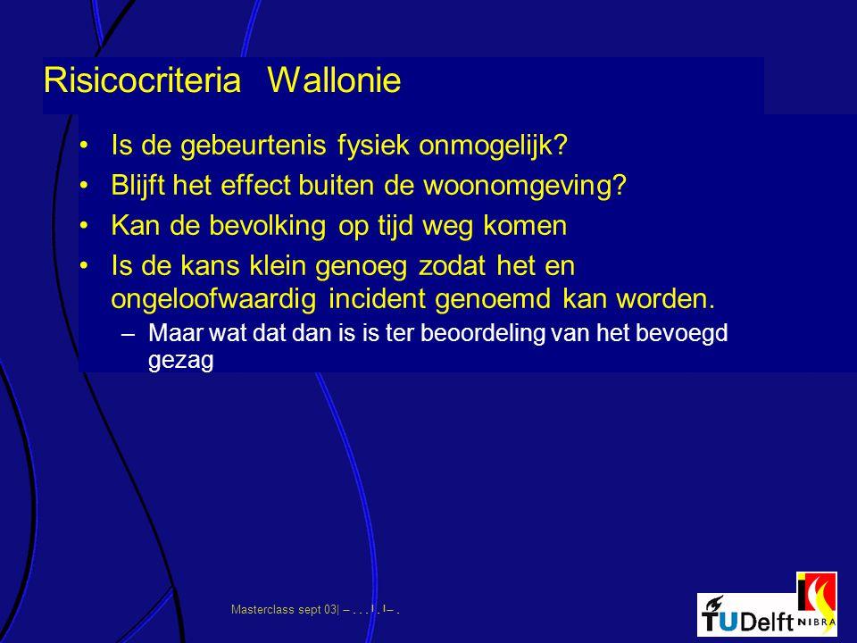 Masterclass sept 03|      Risicocriteria Wallonie Is de gebeurtenis fysiek onmogelijk? Blijft het effect buiten de woonomgeving? Kan