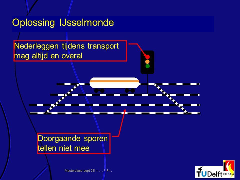 Doorgaande sporen tellen niet mee Oplossing IJsselmonde Nederleggen tijdens transport mag altijd en overal
