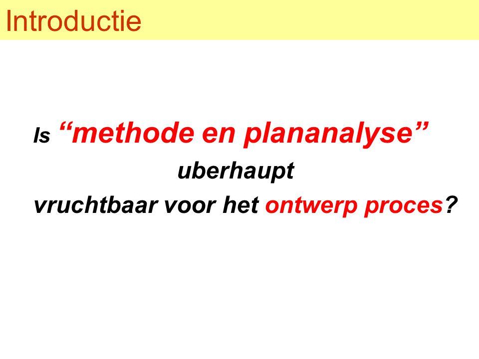 Introductie Is methode en plananalyse uberhaupt vruchtbaar voor het ontwerp proces