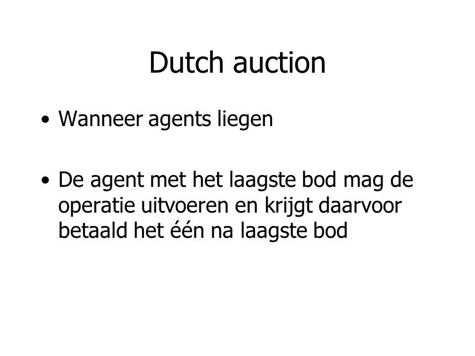 Dutch auction Wanneer agents liegen De agent met het laagste bod mag de operatie uitvoeren en krijgt daarvoor betaald het één na laagste bod