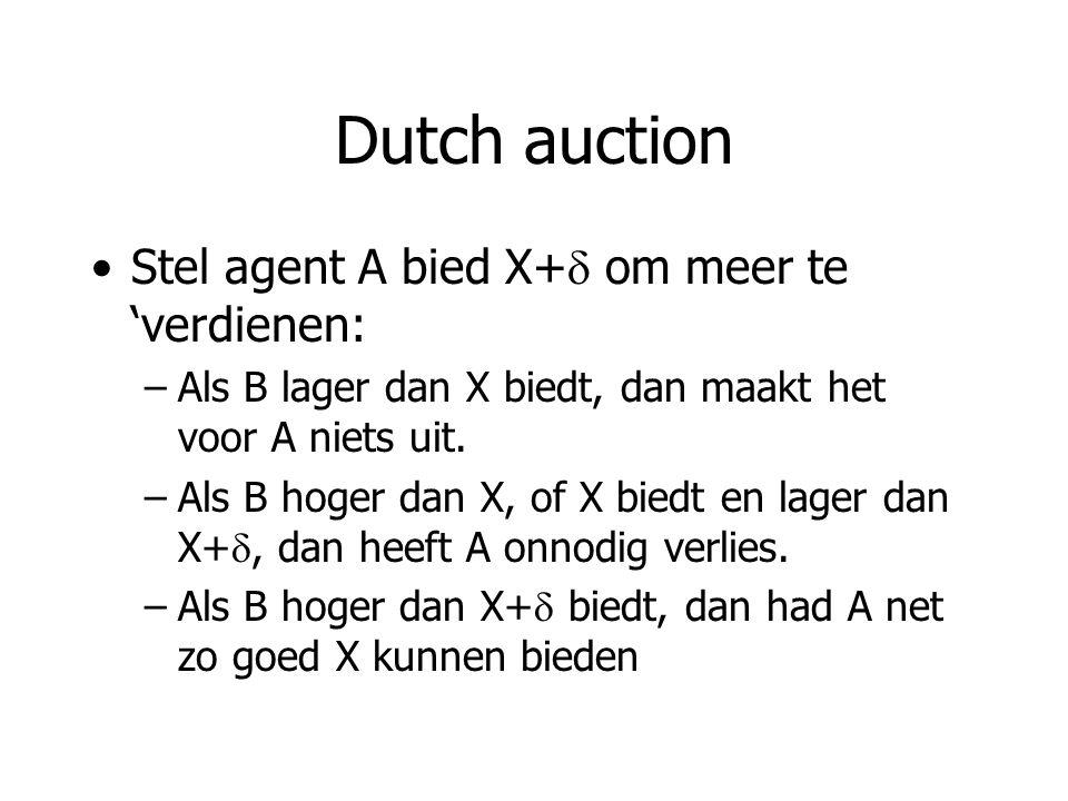 Dutch auction Stel agent A bied X+  om meer te 'verdienen: –Als B lager dan X biedt, dan maakt het voor A niets uit.
