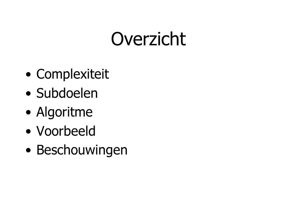 Overzicht Complexiteit Subdoelen Algoritme Voorbeeld Beschouwingen