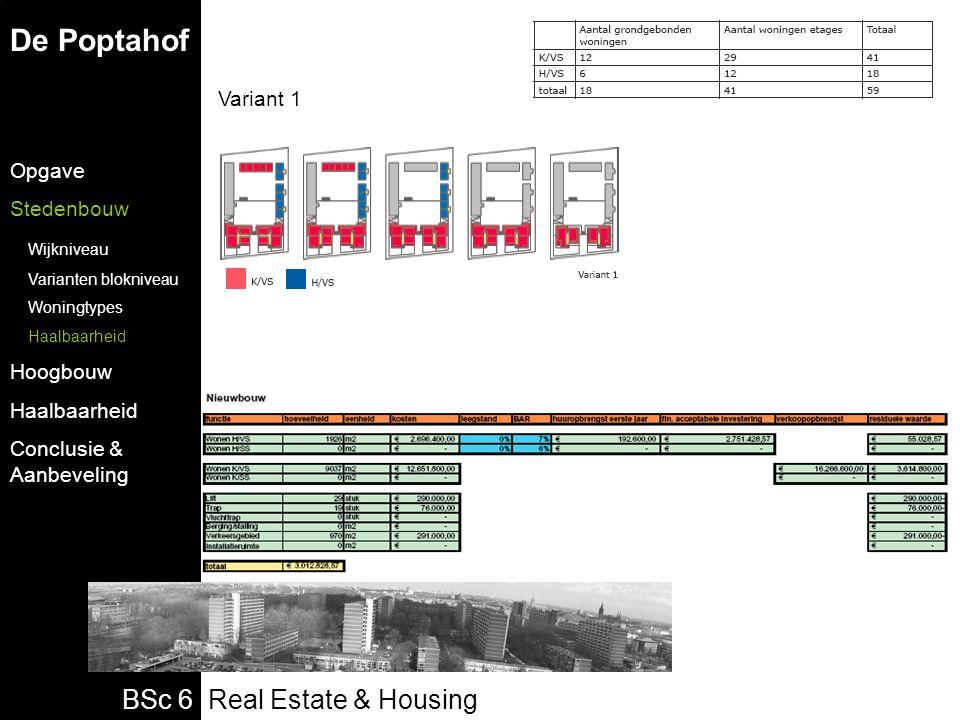 BSc 6 Real Estate & Housing Variant 1 De Poptahof Opgave Stedenbouw Wijkniveau Varianten blokniveau Woningtypes Haalbaarheid Hoogbouw Haalbaarheid Conclusie & Aanbeveling