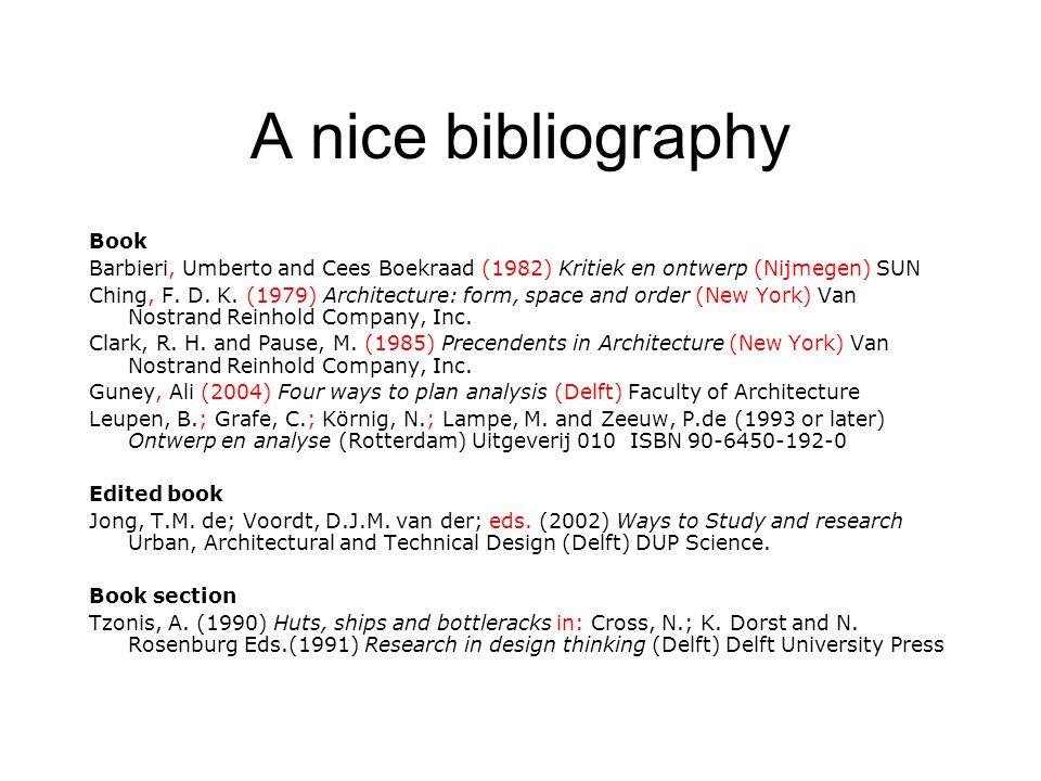 A nice bibliography Book Barbieri, Umberto and Cees Boekraad (1982) Kritiek en ontwerp (Nijmegen) SUN Ching, F. D. K. (1979) Architecture: form, space