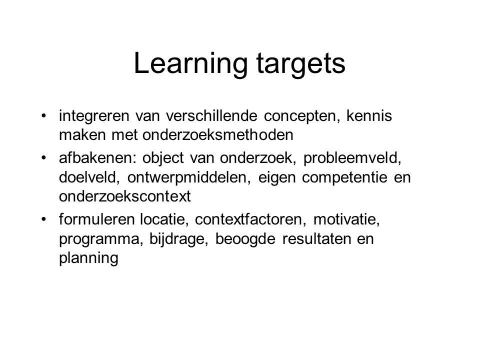 Learning targets integreren van verschillende concepten, kennis maken met onderzoeksmethoden afbakenen: object van onderzoek, probleemveld, doelveld,