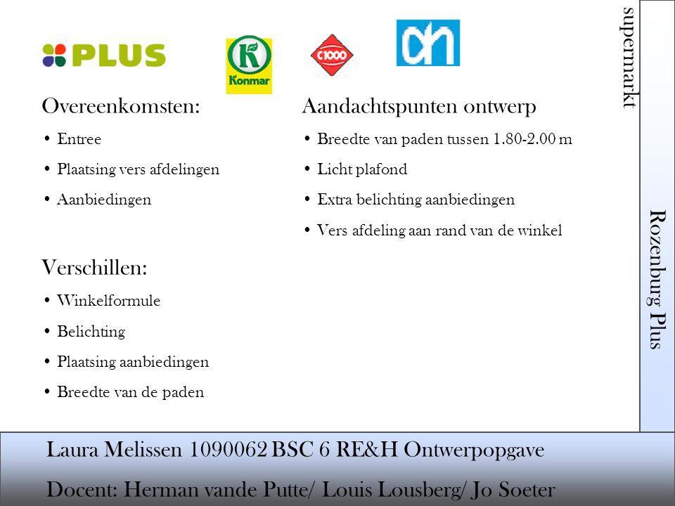 Rozenburg Plus supermarkt Laura Melissen 1090062 BSC 6 RE&H Ontwerpopgave Docent: Herman vande Putte/ Louis Lousberg/ Jo Soeter Noordwestgevel en Zuidwestgevel