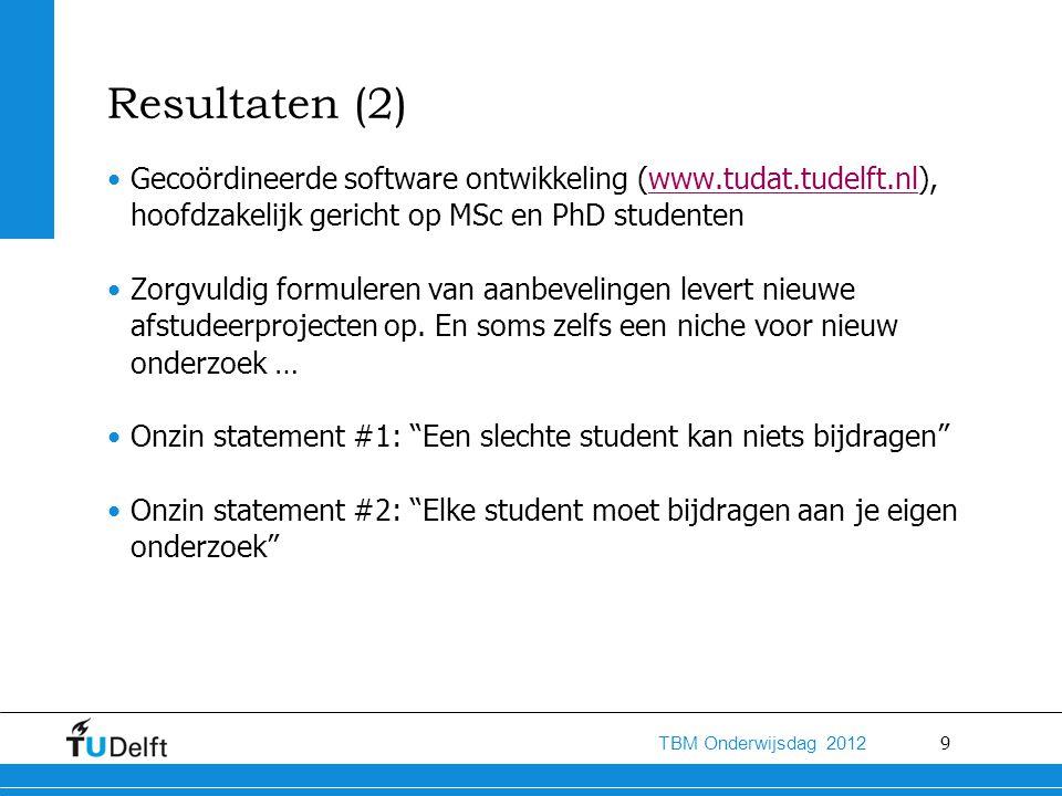 9 TBM Onderwijsdag 2012 Resultaten (2) Gecoördineerde software ontwikkeling (www.tudat.tudelft.nl), hoofdzakelijk gericht op MSc en PhD studentenwww.tudat.tudelft.nl Zorgvuldig formuleren van aanbevelingen levert nieuwe afstudeerprojecten op.