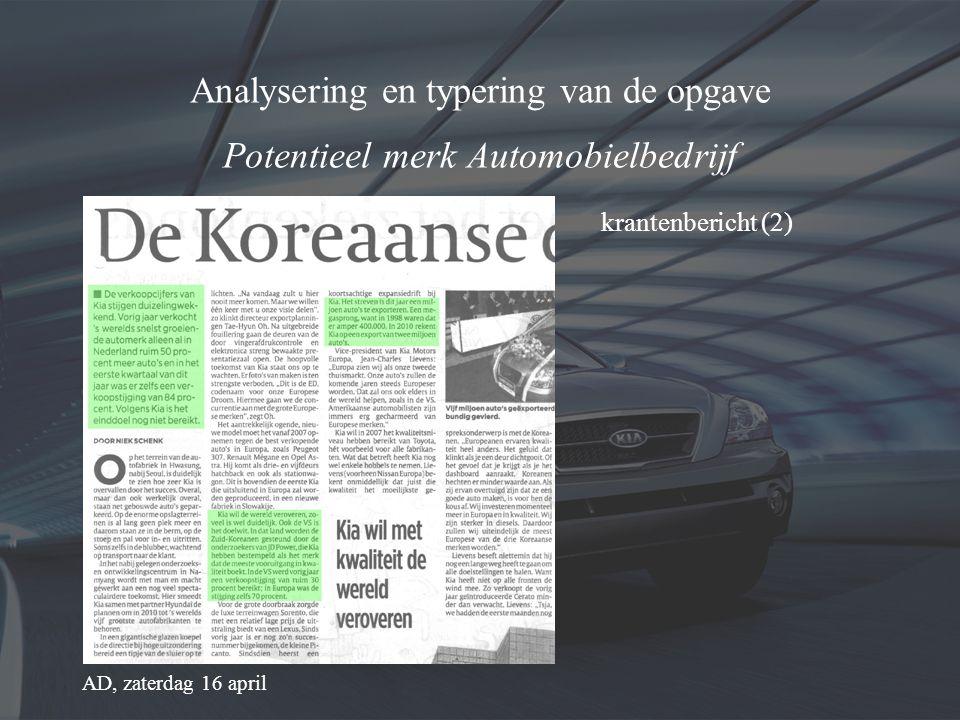 Analysering en typering van de opgave Potentieel merk Automobielbedrijf krantenbericht (1) Metro, donderdag 14 april