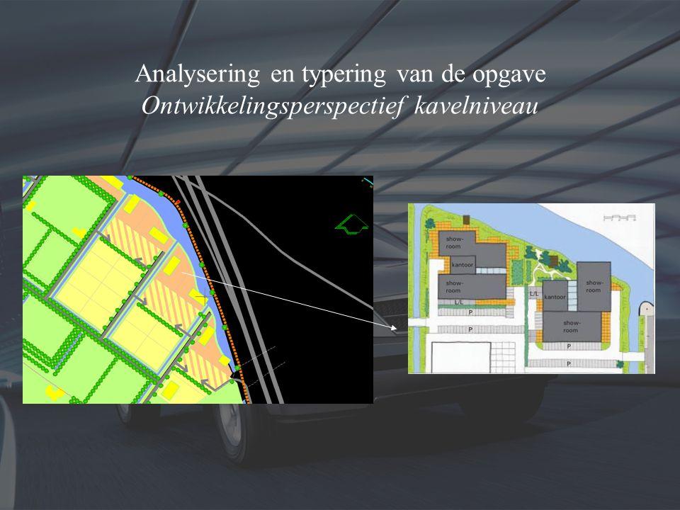 Analysering en typering van de opgave Ontwikkelingsperspectief kavelniveau Snelwegkavels (A) -1 (8000 m2) -2 (4460 m2) -3 (4949 m2) -4 (5237 m2) 2 1 3 4