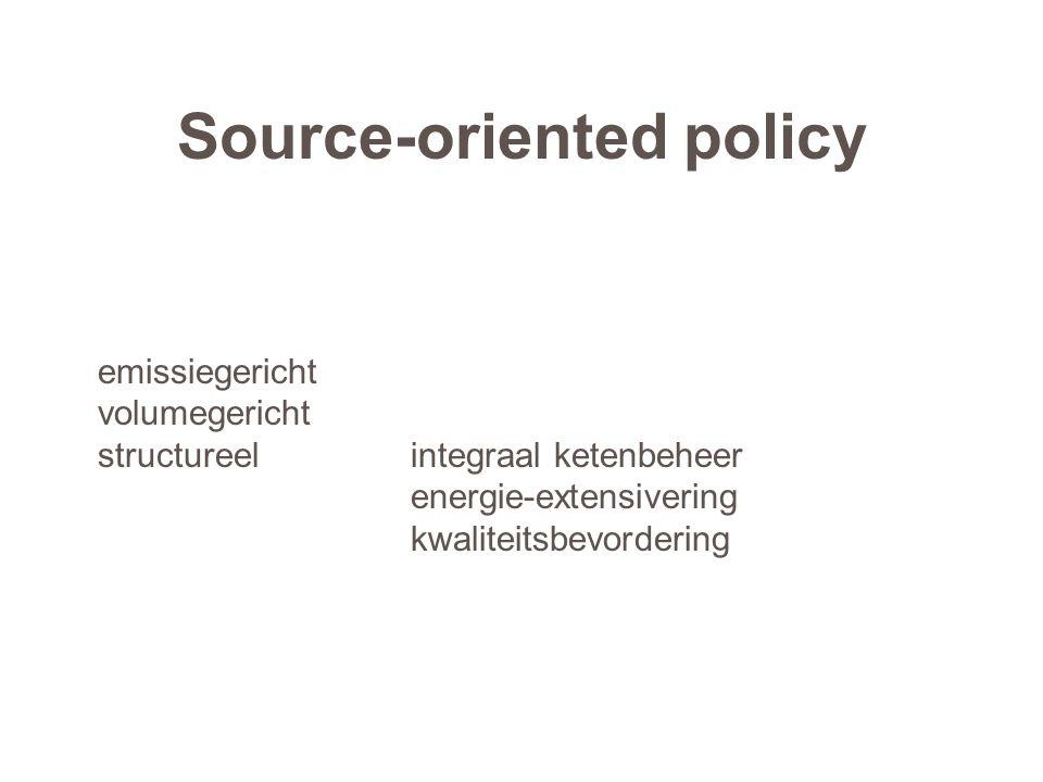 Source-oriented policy emissiegericht volumegericht structureelintegraal ketenbeheer energie-extensivering kwaliteitsbevordering