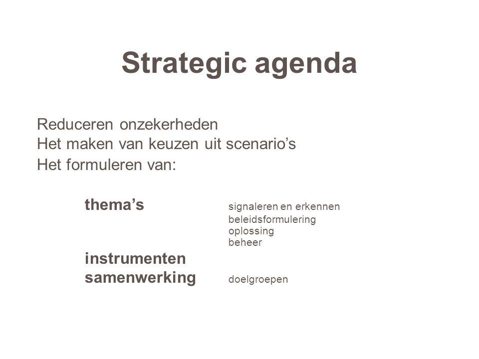Strategic agenda Reduceren onzekerheden Het maken van keuzen uit scenario's Het formuleren van: thema's signaleren en erkennen beleidsformulering oplo