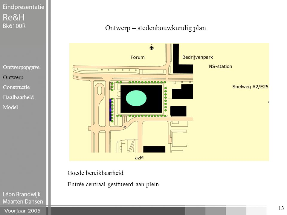 13 Ontwerp – stedenbouwkundig plan Ontwerpopgave Ontwerp Constructie Haalbaarheid Model Goede bereikbaarheid Entrée centraal gesitueerd aan plein