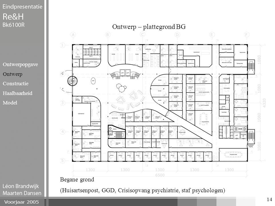 14 Ontwerp – plattegrond BG Ontwerpopgave Ontwerp Constructie Haalbaarheid Model Begane grond (Huisartsenpost, GGD, Crisisopvang psychiatrie, staf psy