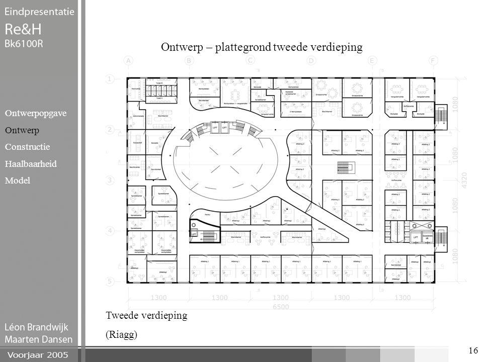 16 Ontwerp – plattegrond tweede verdieping Ontwerpopgave Ontwerp Constructie Haalbaarheid Model Tweede verdieping (Riagg)