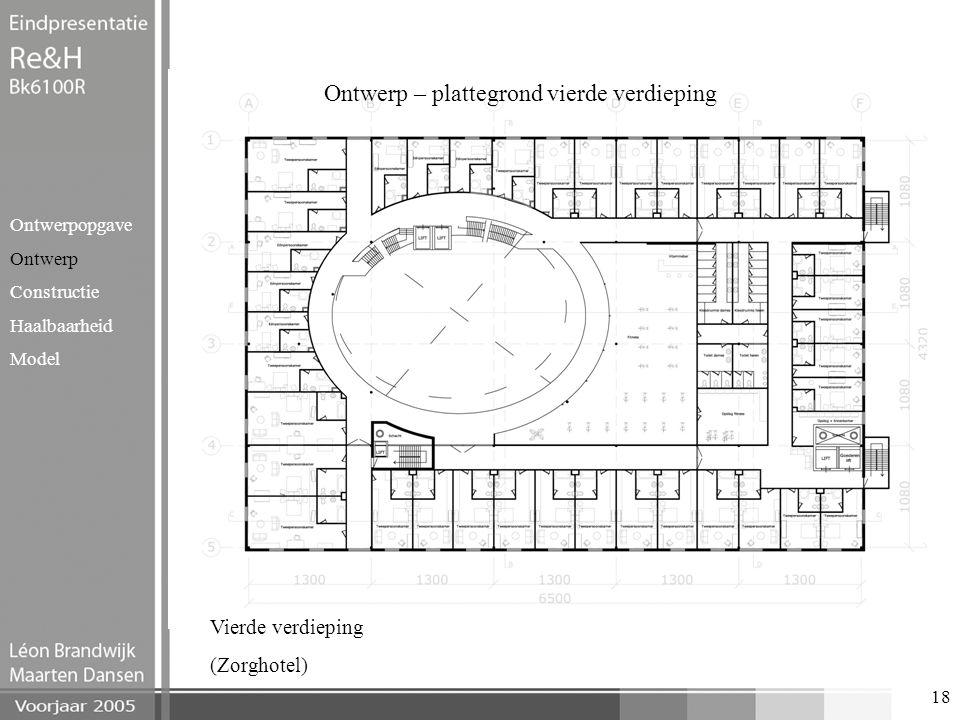 18 Ontwerp – plattegrond vierde verdieping Ontwerpopgave Ontwerp Constructie Haalbaarheid Model Vierde verdieping (Zorghotel)