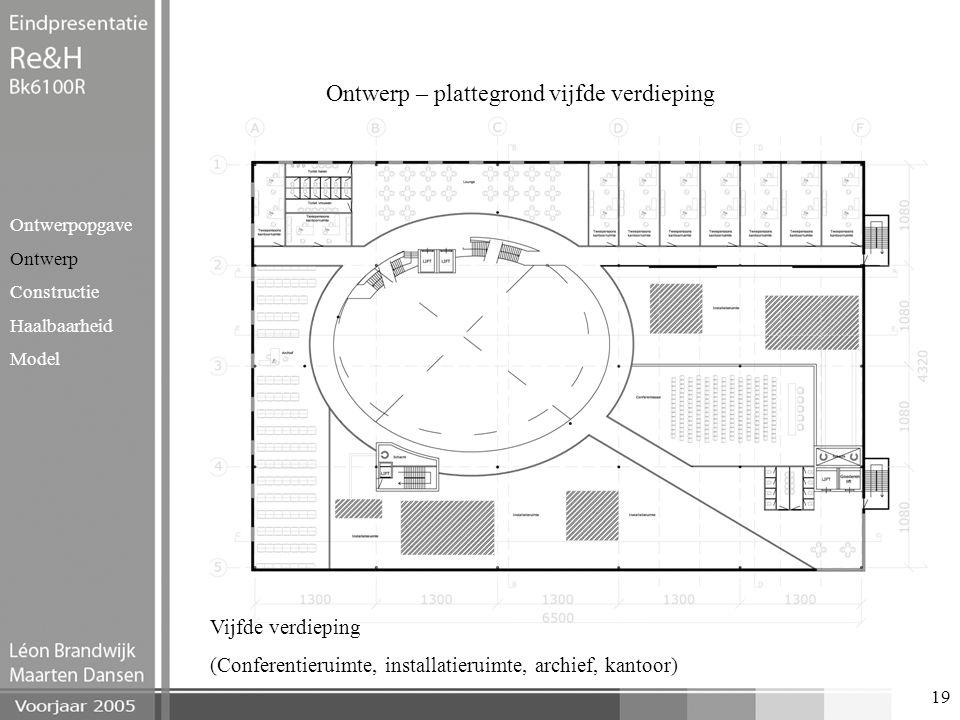 19 Ontwerp – plattegrond vijfde verdieping Ontwerpopgave Ontwerp Constructie Haalbaarheid Model Vijfde verdieping (Conferentieruimte, installatieruimt