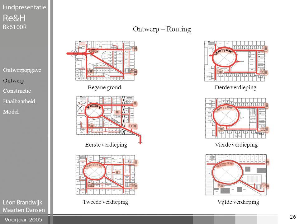 26 Ontwerp – Routing Ontwerpopgave Ontwerp Constructie Haalbaarheid Model Begane grond Eerste verdieping Tweede verdieping Derde verdieping Vierde ver