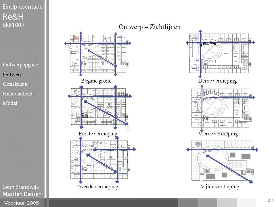 27 Ontwerp – Zichtlijnen Ontwerpopgave Ontwerp Constructie Haalbaarheid Model Begane grond Eerste verdieping Tweede verdieping Derde verdieping Vierde