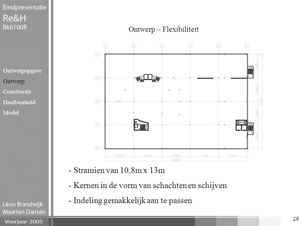 28 Ontwerp – Flexibiliteit Ontwerpopgave Ontwerp Constructie Haalbaarheid Model - Stramien van 10,8m x 13m - Kernen in de vorm van schachten en schijv