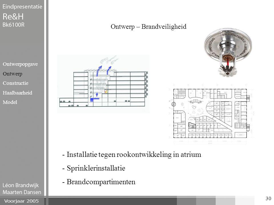 30 Ontwerp – Brandveiligheid Ontwerpopgave Ontwerp Constructie Haalbaarheid Model - Installatie tegen rookontwikkeling in atrium - Sprinklerinstallati