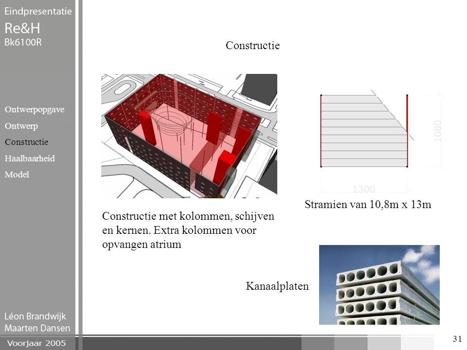 31 Constructie Ontwerpopgave Ontwerp Constructie Haalbaarheid Model Constructie met kolommen, schijven en kernen. Extra kolommen voor opvangen atrium