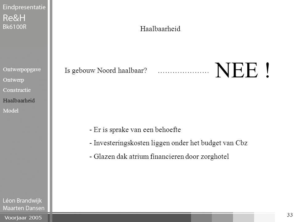 33 Haalbaarheid Ontwerpopgave Ontwerp Constructie Haalbaarheid Model Is gebouw Noord haalbaar? ………………… NEE ! - Er is sprake van een behoefte - Investe