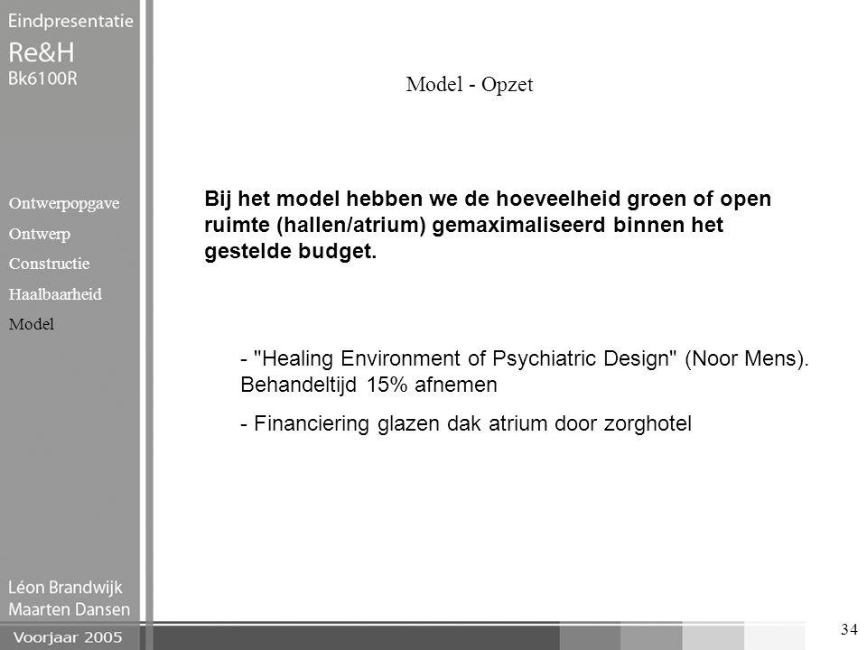 34 Model - Opzet Ontwerpopgave Ontwerp Constructie Haalbaarheid Model Bij het model hebben we de hoeveelheid groen of open ruimte (hallen/atrium) gema