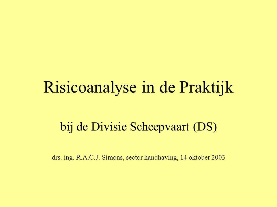 Risicoanalyse in de Praktijk bij de Divisie Scheepvaart (DS) drs. ing. R.A.C.J. Simons, sector handhaving, 14 oktober 2003