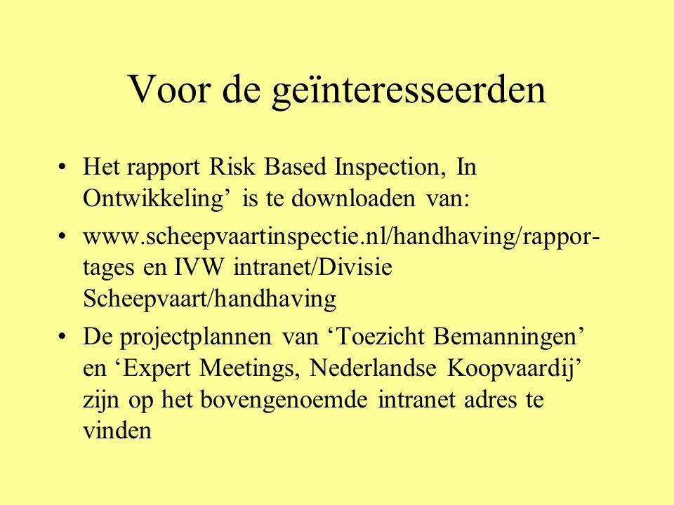 Voor de geïnteresseerden Het rapport Risk Based Inspection, In Ontwikkeling' is te downloaden van: www.scheepvaartinspectie.nl/handhaving/rappor- tage
