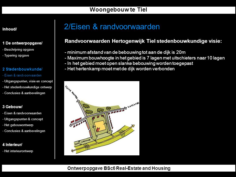 Woongebouw te Tiel Ontwerpopgave BSc6 Real-Estate and Housing 2/Eisen & randvoorwaarden Inhoud/ 1 De ontwerpopgave/ - Beschrijving opgave - Typering o