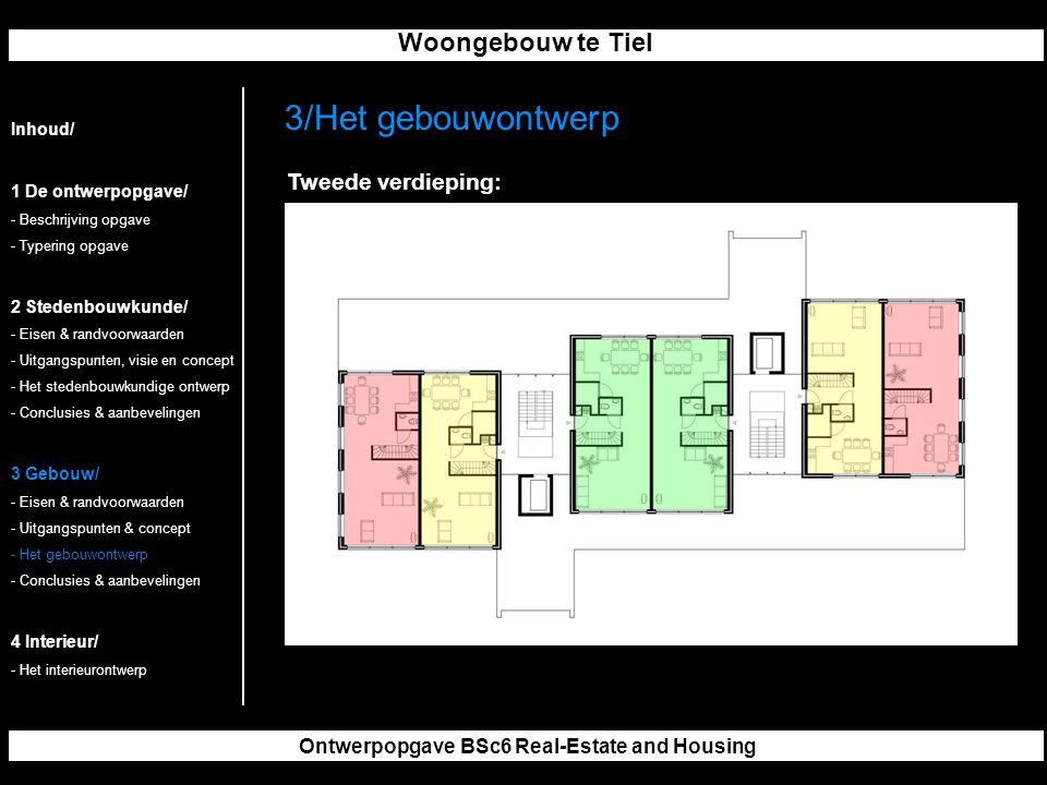 Woongebouw te Tiel Ontwerpopgave BSc6 Real-Estate and Housing 3/Het gebouwontwerp Inhoud/ 1 De ontwerpopgave/ - Beschrijving opgave - Typering opgave 2 Stedenbouwkunde/ - Eisen & randvoorwaarden - Uitgangspunten, visie en concept - Het stedenbouwkundige ontwerp - Conclusies & aanbevelingen 3 Gebouw/ - Eisen & randvoorwaarden - Uitgangspunten & concept - Het gebouwontwerp - Conclusies & aanbevelingen 4 Interieur/ - Het interieurontwerp Tweede verdieping: