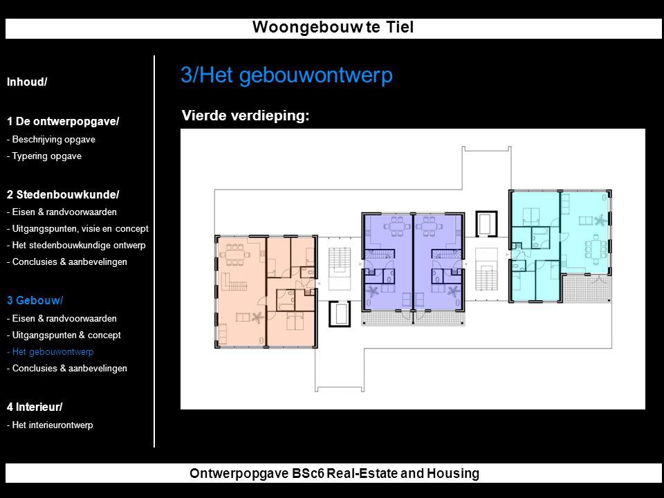 Woongebouw te Tiel Ontwerpopgave BSc6 Real-Estate and Housing 3/Het gebouwontwerp Inhoud/ 1 De ontwerpopgave/ - Beschrijving opgave - Typering opgave 2 Stedenbouwkunde/ - Eisen & randvoorwaarden - Uitgangspunten, visie en concept - Het stedenbouwkundige ontwerp - Conclusies & aanbevelingen 3 Gebouw/ - Eisen & randvoorwaarden - Uitgangspunten & concept - Het gebouwontwerp - Conclusies & aanbevelingen 4 Interieur/ - Het interieurontwerp Vierde verdieping: