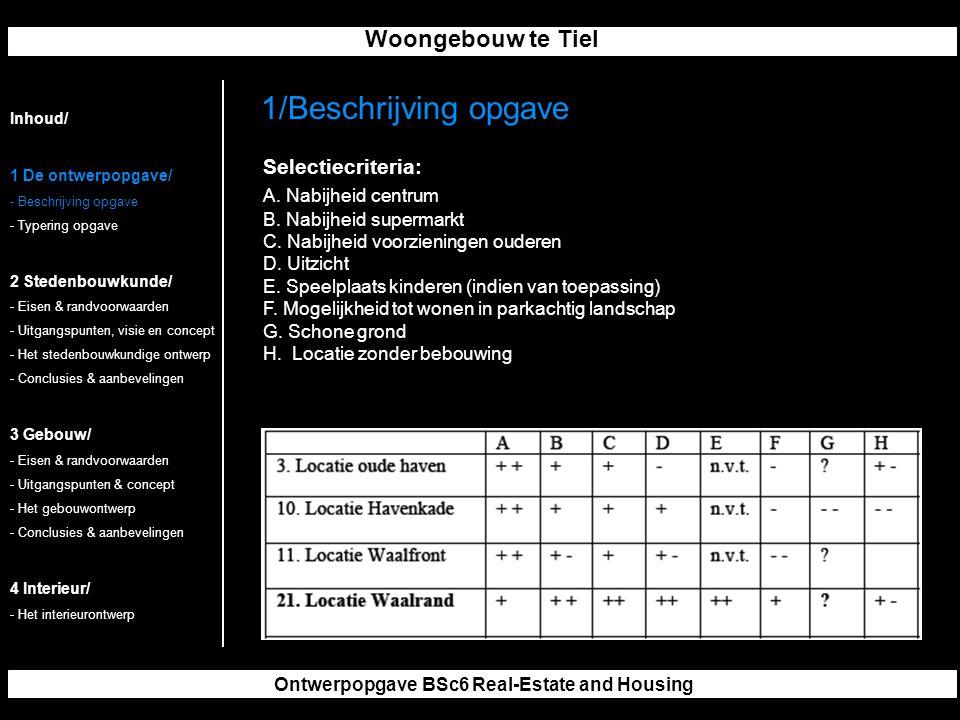 Woongebouw te Tiel Ontwerpopgave BSc6 Real-Estate and Housing Selectiecriteria: A.