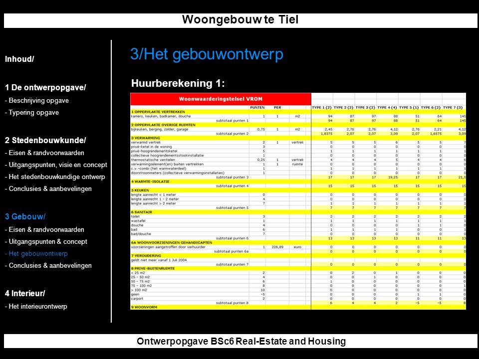 Woongebouw te Tiel Ontwerpopgave BSc6 Real-Estate and Housing 3/Het gebouwontwerp Inhoud/ 1 De ontwerpopgave/ - Beschrijving opgave - Typering opgave 2 Stedenbouwkunde/ - Eisen & randvoorwaarden - Uitgangspunten, visie en concept - Het stedenbouwkundige ontwerp - Conclusies & aanbevelingen 3 Gebouw/ - Eisen & randvoorwaarden - Uitgangspunten & concept - Het gebouwontwerp - Conclusies & aanbevelingen 4 Interieur/ - Het interieurontwerp Huurberekening 1: