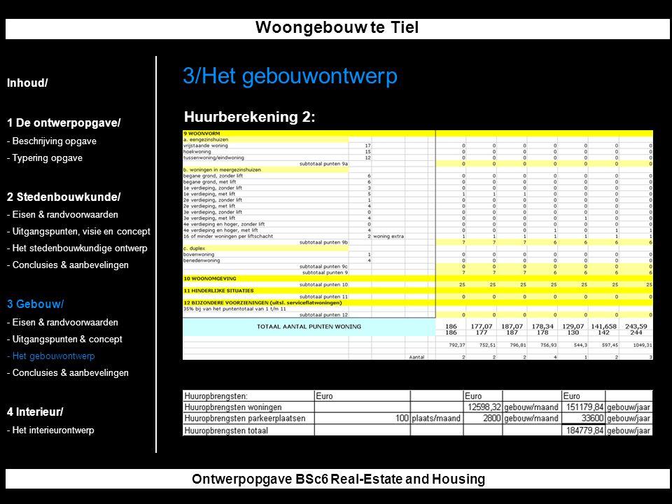Woongebouw te Tiel Ontwerpopgave BSc6 Real-Estate and Housing 3/Het gebouwontwerp Inhoud/ 1 De ontwerpopgave/ - Beschrijving opgave - Typering opgave 2 Stedenbouwkunde/ - Eisen & randvoorwaarden - Uitgangspunten, visie en concept - Het stedenbouwkundige ontwerp - Conclusies & aanbevelingen 3 Gebouw/ - Eisen & randvoorwaarden - Uitgangspunten & concept - Het gebouwontwerp - Conclusies & aanbevelingen 4 Interieur/ - Het interieurontwerp Huurberekening 2: