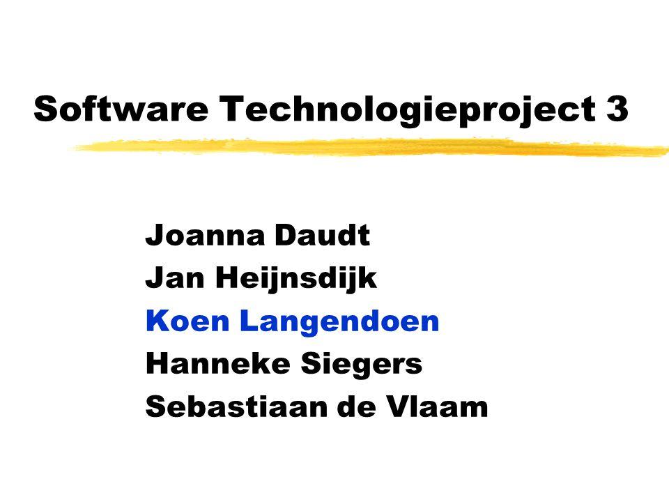 Software Technologieproject 3 Joanna Daudt Jan Heijnsdijk Koen Langendoen Hanneke Siegers Sebastiaan de Vlaam