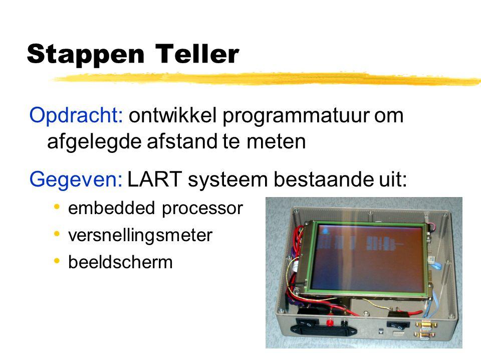Stappen Teller Opdracht: ontwikkel programmatuur om afgelegde afstand te meten Gegeven: LART systeem bestaande uit: embedded processor versnellingsmeter beeldscherm