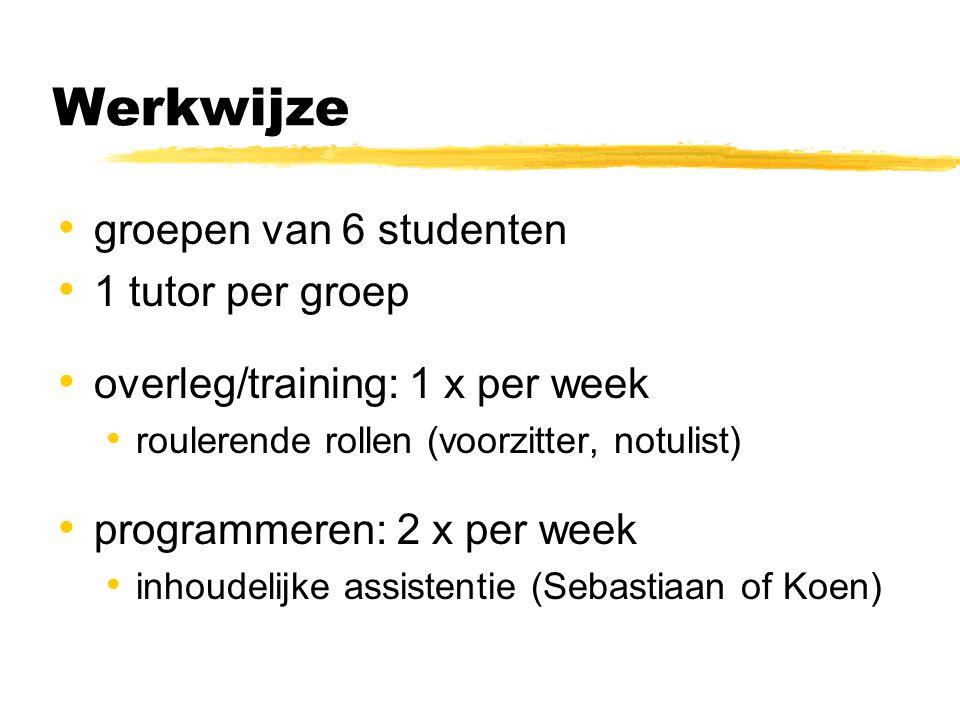 Werkwijze groepen van 6 studenten 1 tutor per groep overleg/training: 1 x per week roulerende rollen (voorzitter, notulist) programmeren: 2 x per week inhoudelijke assistentie (Sebastiaan of Koen)