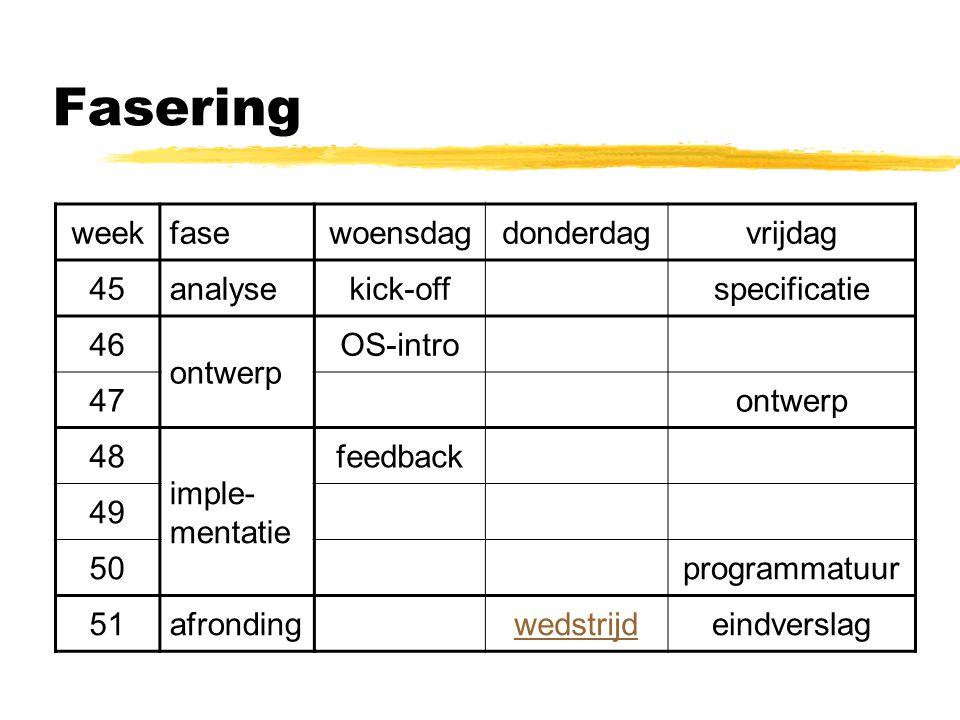 Fasering weekfasewoensdagdonderdagvrijdag 45analysekick-offspecificatie 46 ontwerp OS-intro 47ontwerp 48 imple- mentatie feedback 49 50programmatuur 51afrondingwedstrijdeindverslag