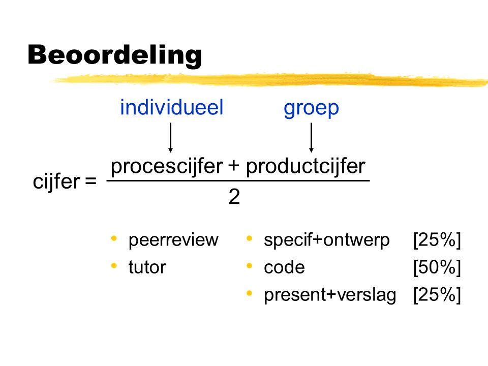 Beoordeling peerreview tutor 2 cijfer = procescijfer + productcijfer individueelgroep specif+ontwerp code present+verslag [25%] [50%] [25%]