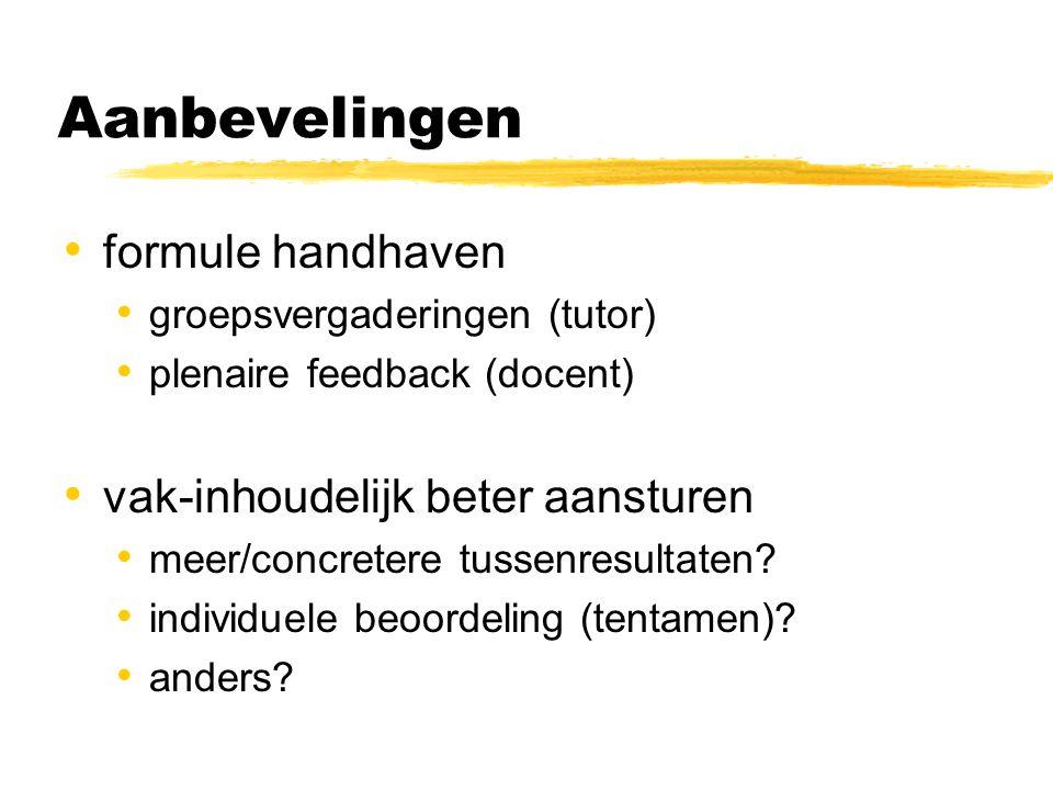 Aanbevelingen formule handhaven groepsvergaderingen (tutor) plenaire feedback (docent) vak-inhoudelijk beter aansturen meer/concretere tussenresultaten.