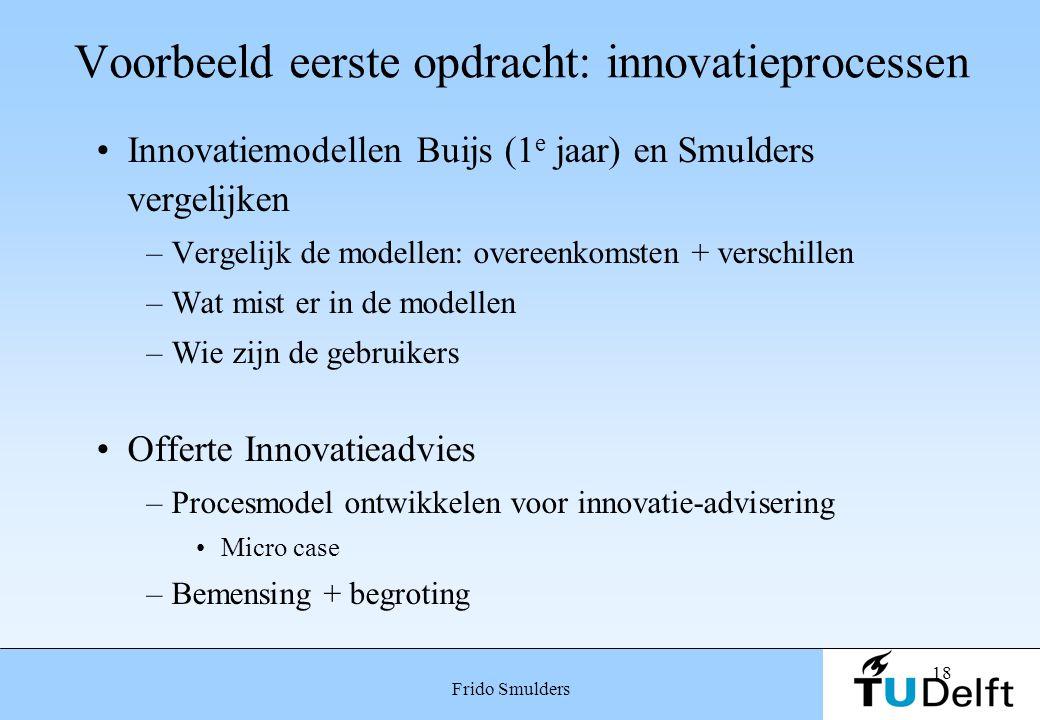 18 Frido Smulders Voorbeeld eerste opdracht: innovatieprocessen Innovatiemodellen Buijs (1 e jaar) en Smulders vergelijken –Vergelijk de modellen: ove