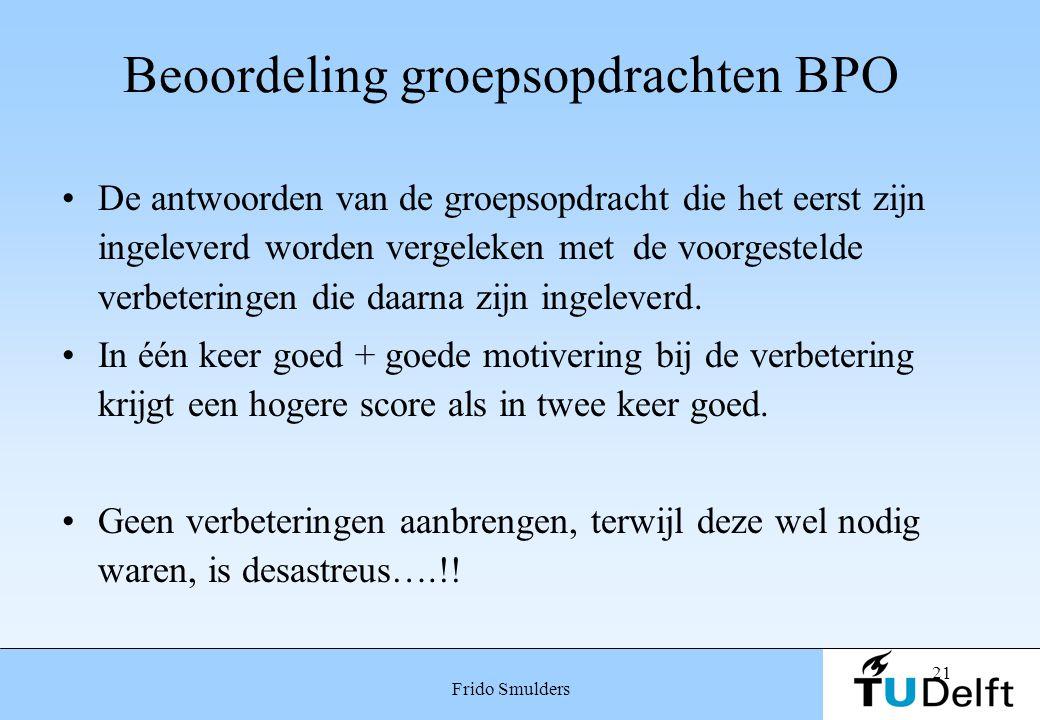 21 Frido Smulders Beoordeling groepsopdrachten BPO De antwoorden van de groepsopdracht die het eerst zijn ingeleverd worden vergeleken met de voorgest