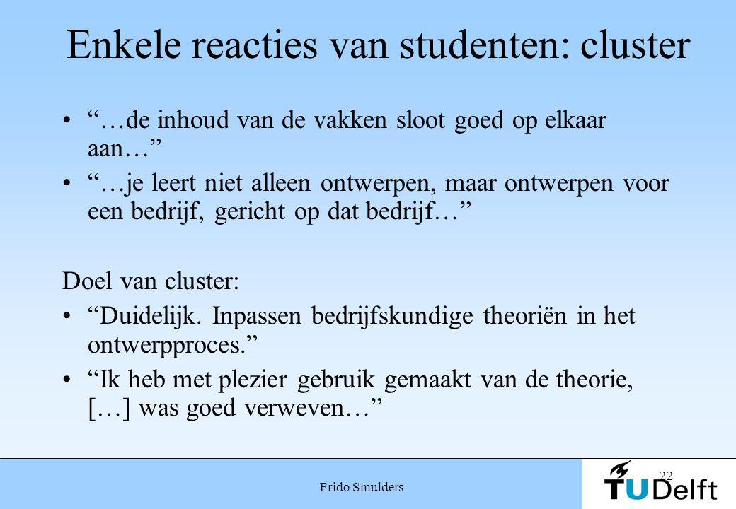 """22 Frido Smulders Enkele reacties van studenten: cluster """"…de inhoud van de vakken sloot goed op elkaar aan…"""" """"…je leert niet alleen ontwerpen, maar o"""