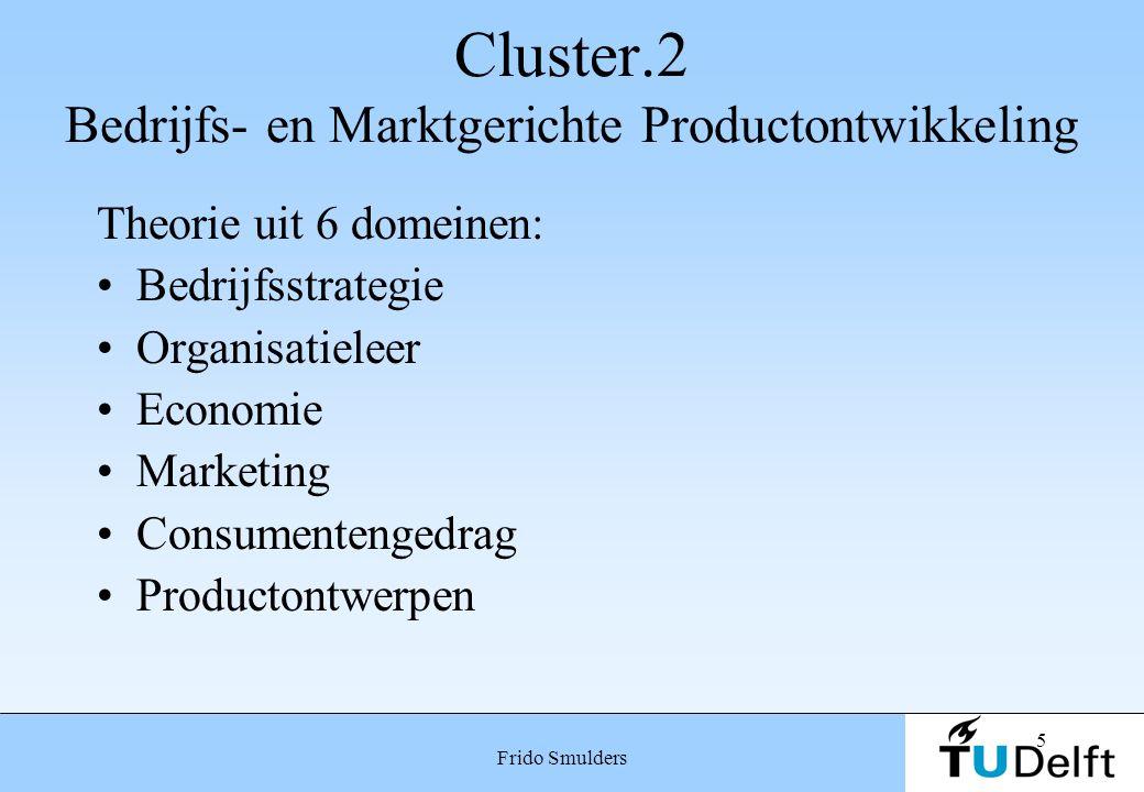 5 Frido Smulders Cluster.2 Bedrijfs- en Marktgerichte Productontwikkeling Theorie uit 6 domeinen: Bedrijfsstrategie Organisatieleer Economie Marketing