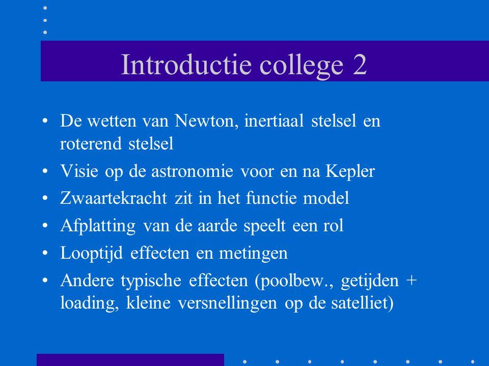 Introductie college 2 De wetten van Newton, inertiaal stelsel en roterend stelsel Visie op de astronomie voor en na Kepler Zwaartekracht zit in het functie model Afplatting van de aarde speelt een rol Looptijd effecten en metingen Andere typische effecten (poolbew., getijden + loading, kleine versnellingen op de satelliet)