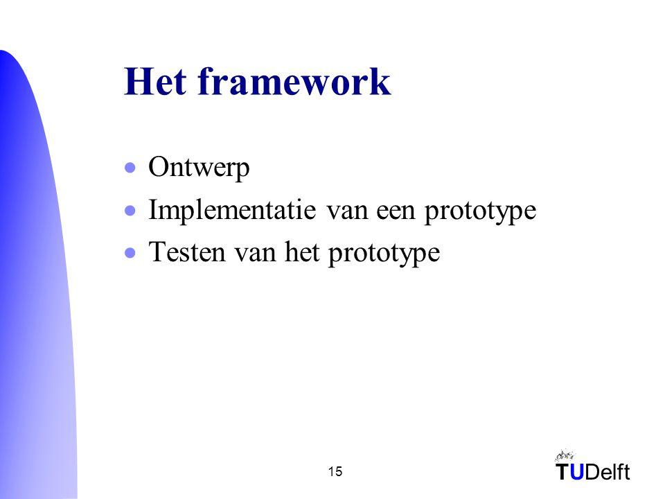 TUDelft 15 Het framework  Ontwerp  Implementatie van een prototype  Testen van het prototype